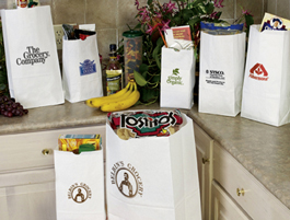 White Paper Grocery Bags Custom Printed